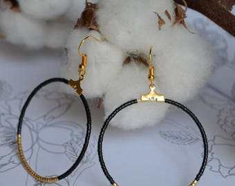 Great evening hoop earrings with beads Miyuki-black, gold