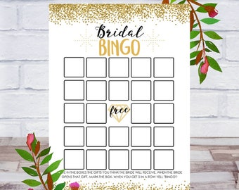 Bridal Bingo, Bridal Shower Games, Printable Bachelorette Party, Cards, Size 5x7, Gold Confetti, Instant DIGITAL DOWNLOAD
