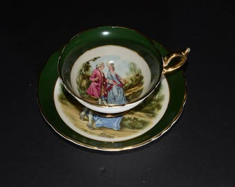 REGENCY, Teacup, and saucer, Courting Couple, Love Story Tea Cup, Tea Set, Green Cups, Antique Tea Cups, Bone China Cups, Vogue Team, 1940s