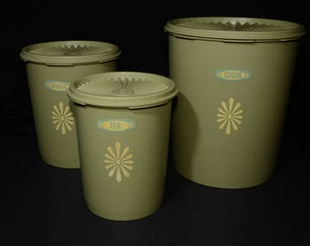 Vintage, TUPPERWARE, Set Of 3, Avocado Green, Sunburst, Tupperware Canister Set, 805-8, 809-3, 811-5, Servalier snap on lid, Made in Canada