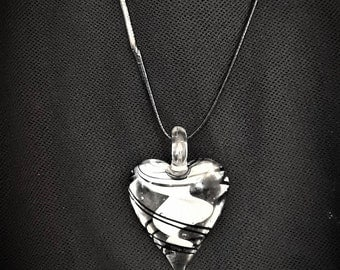 Heart of glass pendant with black leather strap necklace