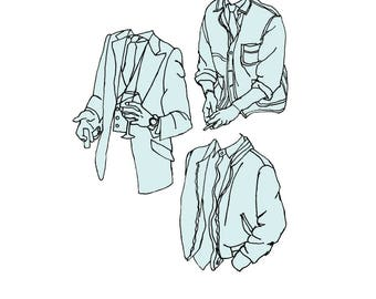 Blue Suits Illustration Print
