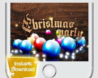 Christmas Party Snapchat Geofilter Gold Holiday Party Custom Merry Christmas Winter Celebration Christmas Lights Filter for Christmas Party
