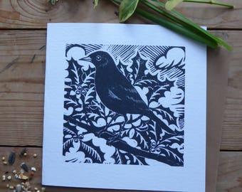 Blackbird greetings card from original lino cut