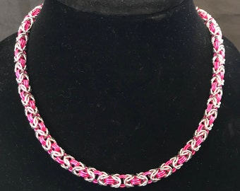 Beautiful Pink and Silver Byzantine Necklace