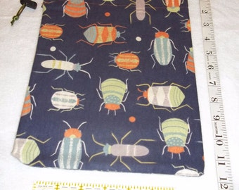 Colorful Beetles Handmade Drawstring Bag