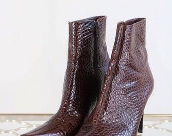Textured Brown Booties