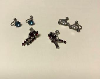 3 pairs vintage screw back earrings