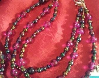 3 Strand Purple Beaded Bracelet
