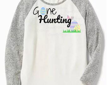 Gone Hunting svg, easter svg, bunny svg, easter bunny svg, easter eggs svg, rabbit svg, kids easter shirt, PNG, DXF.