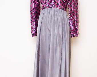 1970's MISS ELLIETTE California sequined top long dress.  Unique grey, black and pink color combination