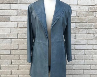 Vintage 70's Gray Long Leather Jacket