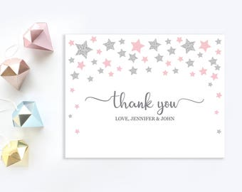 Twinkle twinkle little star thank you cards   Personalized Thank You card   Pink and silver stars thank you card   Baby girl shower