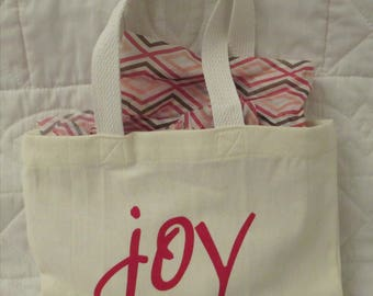 """Small cream-colored """"Joy"""" gift bag/tote perfect for books or Christmas gifts"""