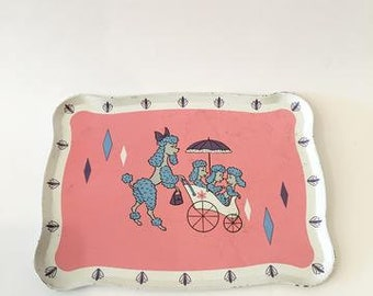 Vintage 1940s/50s Children's Metal Tray -poodle