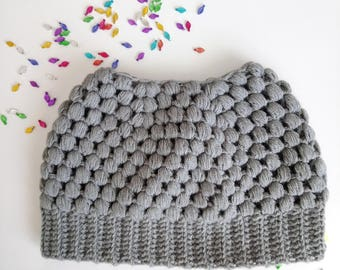 Gray messy bun beanie, crochet messy bun beanie, top knot hat, mom hat, ponytail hat, gray hat,