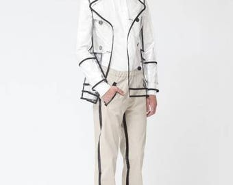 Men's Transparent PVC Clear Trench Coat with Black Trim. Waterproof Coat.