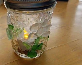 Beach Glass Mason Jar Light