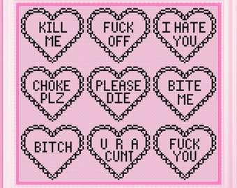 Anti Valentine Valentine's Day Cross stitch pattern *PATTERN ONLY* PDF instant download