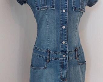 Vintage Denim Dress/Beware/Jean Dress/Medium