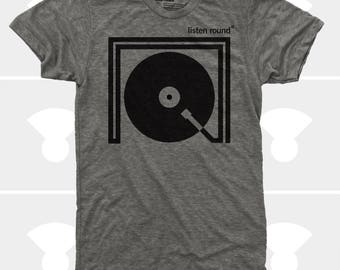 Listen Round Men TShirt | Turntable Record DJ Music Tee | Music Gift | Gift for Men | Gift for Boyfriend | Gift for Husband | Gift for Son