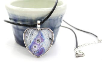 Heart Made with Paint Pendant in Purple, Blue, and White