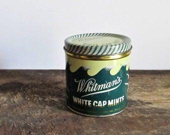 Vintage Whitman's White Cap Mints Tin