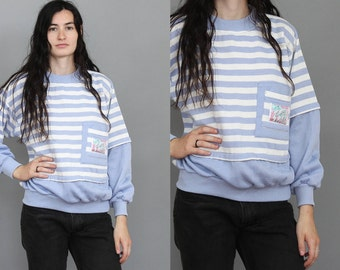 80's Periwinkle Striped Ski Sweater in Medium or Large . Baggy Oversized Retro Fitted Pullover Jumper . 1980s 90s 1990s White Purple Blue