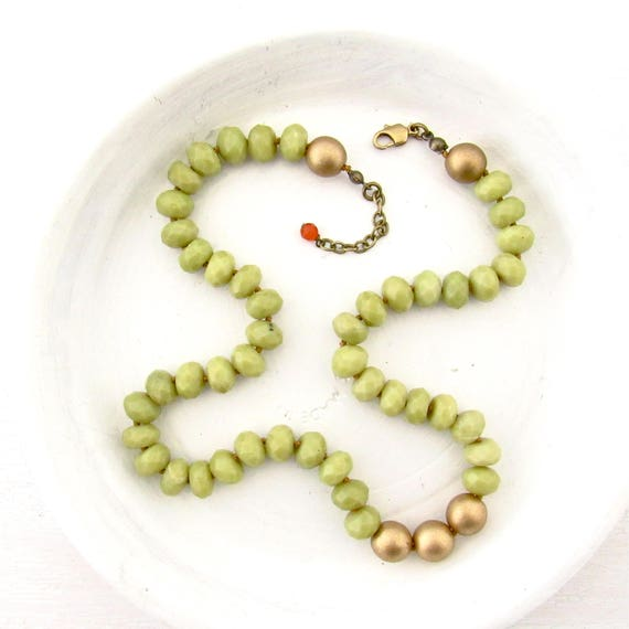 Stay Gold Necklace - Olive Jade