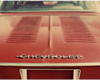 Red Classic Car Photo - Vintage Cars Wall Art - Dusty Corvair Detail Photo - Chevy Corvair Chrome Closeup Signed Photograph - Crimson Auto