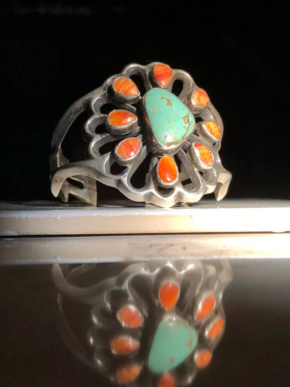 Navajo Sterling Silver Sandcast Turquoise and Spiny Oyster Cuff Bracelet
