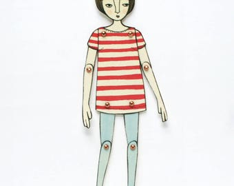 Moveable Paper Doll: Red Stripes & Blue Tights