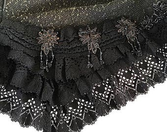 1880s Jet Beaded Bustle Cape Black Wool Victorian Mantle Antique Carriage Cape Loose Sleeveless Cloak or Shawl Wrap with Crochet Ruffle