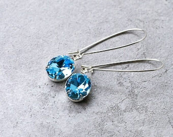 1920s Drop Earrings | Blue Crystal Earrings | Every Day Earrings | Bridesmaid Gift Idea | Bridesmaid Jewelry | Blue Earrings | Gift for Her