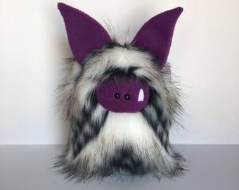 Monster Plushie - Stuffed Monster - Handmade Boy Monster Doll - Cuddly Monster Softie - Soft Toy Plush Monster - Fuzzling Monster OOAK