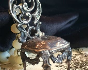 Sterling Silver Antique Scrolled Chair with Cherub Necklace