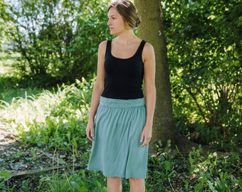 Womens Gathered Jersey Knit Cotton Skirt - Made to Order - Made in the USA - Mason