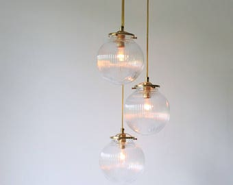 Glass Globe Chandelier, 3 Falling Orb Pendant Lights, Modern Home Statement Lighting