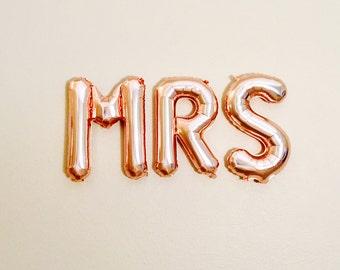 Rose Gold Mrs Balloon, Rose Gold Letters, Mrs Balloons, Rose Gold Wedding, Rose Gold Bride, Rose Gold Future Mrs, Rose Gold Bridal Shower