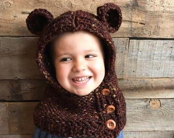 Bear Hooded Cowl- Knit Bear Hood- Hooded Animal Cowl- Bear Hat- Hooded Bear Cowl Toddler- Kids Hoodies- Brown Bear Costume- Halloween Bear