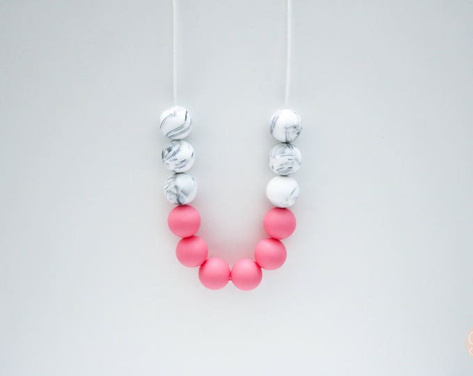 Isla Silicone Beaded Sensory Marble and Pink Necklace.