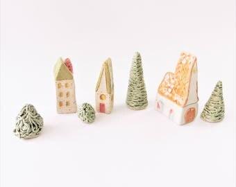 Miniature Village set, Fairy Village set, Terrarium Decorations, Mini Church and HOUSES