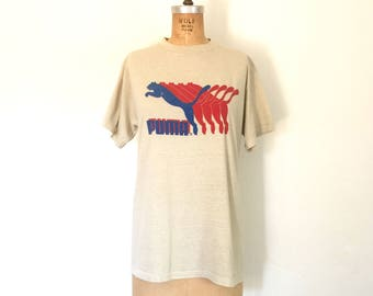 Vintage Puma T-Shirt 1970s Shirt Cotton Graphic Logo Athletic Tee L