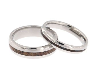 Ring Set Dinosaur Bone Bands Made With Titanium And Fossil - Made In America - Men's Ring 6MM Wide Women's Ring 4MM Wide