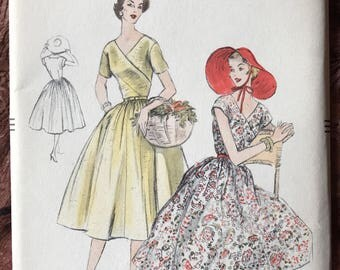 UNCUT 1950's Vogue Dress Pattern # 8586 - Surplice Wrap Bodice, Full Skirt - Garden Patio Party - Size 12, Bust 30