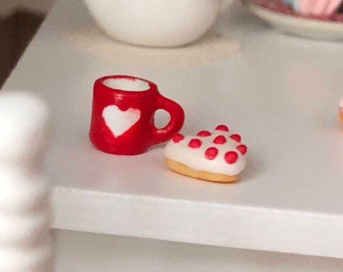 Featured listing image: Miniature Heart Mug, Ceramic Cup, Valentine's Day Mug, Dollhouse Miniature, 1:12 Scale, Mini Mug, Decor, Dollhouse Accessory, Crafts