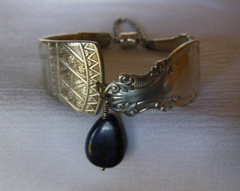 Antique Spoon  Bracelet   7.5 inch With Lapis Gemstone