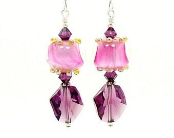 Pink and Purple Earrings, Lampwork Earrings, Glass Earrings, Glass Bead Earrings, Unique Earrings, Drop Earrings, Unusual Earrings