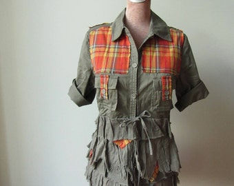 Totally Tattered Army Green Blouse, Orange Plaid Shirt, Shabby Chic Shirts, Upcycled Clothing, Safari Shirt, Ruffle Tops, Recycled Clothing