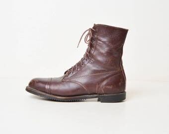 Vintage 90s Brown Leather Booties / Leather Ankle Lace Up Boots / 7.5